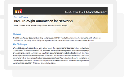 ESG Technical Review: BMC TrueSight Automation for Networks